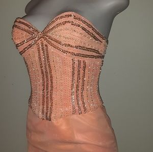 Dresses & Skirts - Strapless Peach Sequin Gown